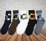 VERIDICAL 5 pair/lot Men's socks solid color Cotton Socks square crew socks for business dress casual funny long socks hosiery