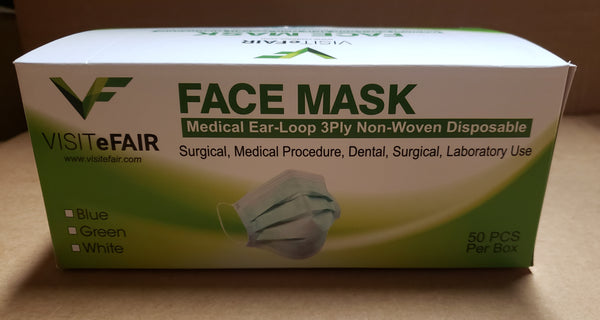 Mask 3ply  PP Non-Wowen Disposable 3ply Surgical Level-2 50/Box. VF Brand. CURBSIDE PICK UP AVAILABLE