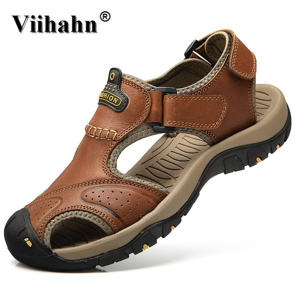 Viihahn Mens Sandals Genuine Leather Summer Slippers Outdoor Beach Men Casual Shoes Plus Size 38-46