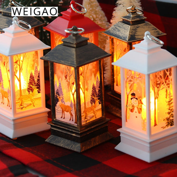 WEIGAO Christmas Mini Lanterns Led Tea Candles Lamp Christmas Decorations for Home Led Light Xmas Tree decor New Year Natal Gift