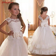 White Lace Flower Girl Dresses for Weddings Flowergirl First Communion Pageant Dresses for Wedding Party Girls