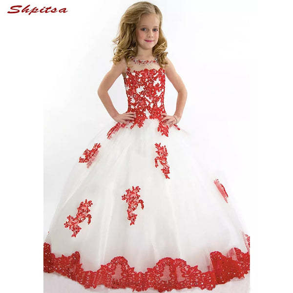 White and Red Flower Girl Dresses 2018 for Wedding First Communion Dresses for girls Pageant Dress Flowergirl Dress