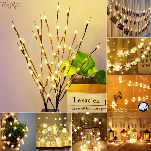 Willow Branch Light Ornament Merry Christmas Decoration for Home Christma Tree Light Navidad Xmas 2019 New Year 2020 Decor Natal