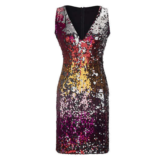 Women 2018 Party Dresses Christmas Tank Sequin Bodycon Sexy V-Neck Sleeveless Sheath Club Midi Dress  Luxury Celebrity Vestidos