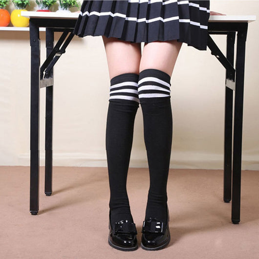 5ca90a6f113 Women High Over The Knee Socks Opaque Japanese School Student Black Warm  Long Stripe Thigh Stockings