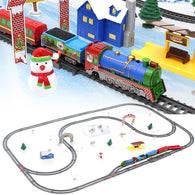 akitoo 64pcs Simulation rail car children's Christmas gift electric light small train track model boy girl toy gift