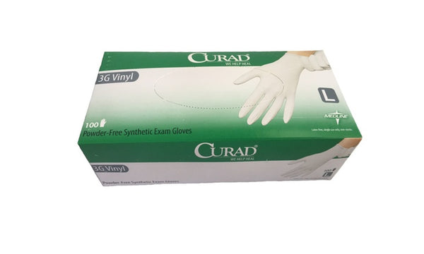 Curad MEDLINE Powder-Free Synthetic Exam Gloves (3G Vinyl) /100/box CURBSIDE PICK UP AVAILABLE