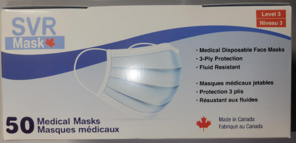 Medical Masks 3Ply SVR Level 3 BLACK Made in Canada 50 Masks/Box