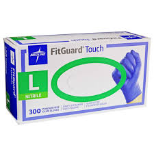 Nitrile Gloves  Fitguard Touch  Medline (300/box or 3000/case) Sold by box. CURBSIDE PICK UP AVAILABLE