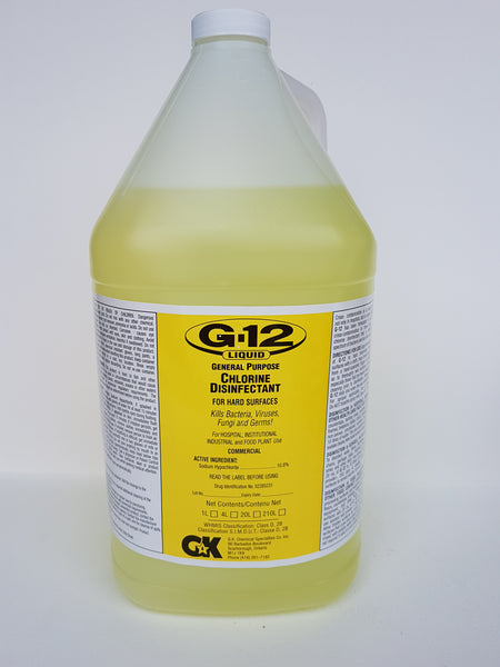 G-12 Chlorine Disinfectant-Sanitizer 4Litter CURBSIDE PICK UP AVAILABLE
