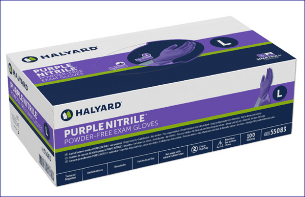 High Quality Long Cuff  CHEMO HALYARD PURPLE NITRILE* Exam Glove Medical 100/Box Available. CURBSIDE PICK UP AVAILABLE