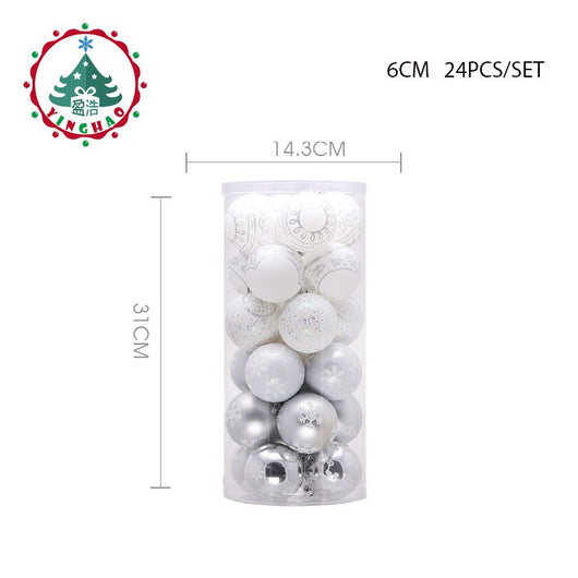 inhoo 2018 Christmas Tree Hanging Balls 6/8cm Silvery White Snowflake Color Drawing Decor Ball Xmas Home Party Wedding Ornament