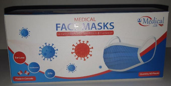 Medical Face Masks Level 3 3Ply Made in Canada 50/Box