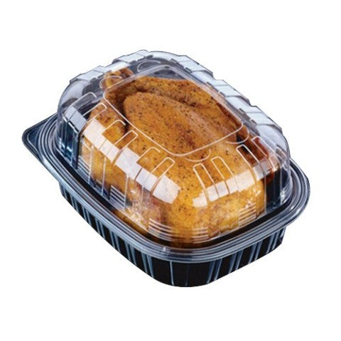 Pactiv Clearview Mealmaster Chicken Roaster Medium Container Black/Clear, 32 oz. | 110/Case