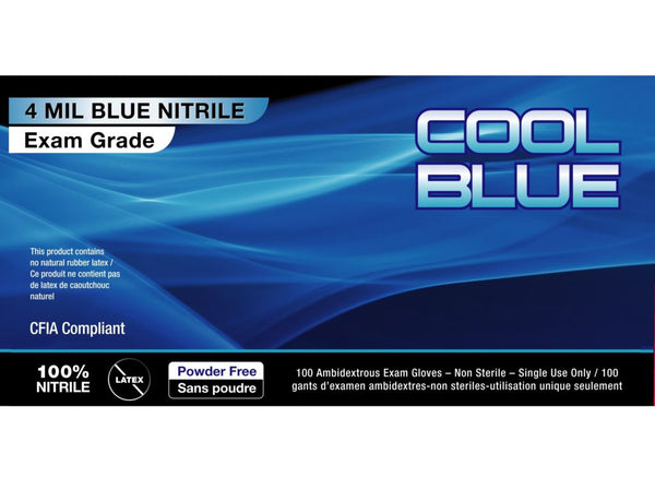 Cool Blue 4 mil Disp. Nitrile Glove 100/Box