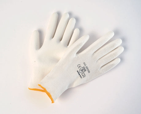 WHITE PALM COATED POLYURETHANE ON WHITE NYLON LINER GLOVES 12Pairs CURBSIDE PICK UP AVAILABLE