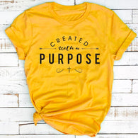 Created With a Purpose Cross Christian T-Shirt Stylish Funny Cotton Tee Casual Bible Verse Clothing Tops Tumblr gift t shirts