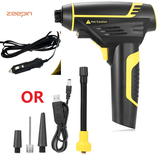 Zeepin Car Inflatable Pump Car and USB Charging Cordless Handheld Electric Digital Air Compressor Pump LED Light for Motor Truck
