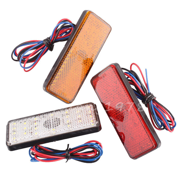 New 2x Universal LED Reflector White Red Yellow Rear Tail Brake Stop Marker Light For JEEP SUV Truck Trailer Motorcycle Car