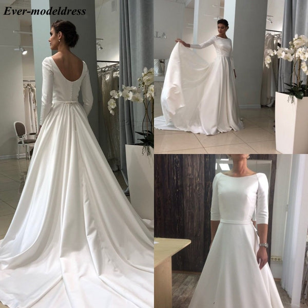 2019 Simple Satin Wedding Dress Long Sleeves Button Back Sweep Train Elegant Bridal Gowns Plus Size Vestido De Noiva Cheap