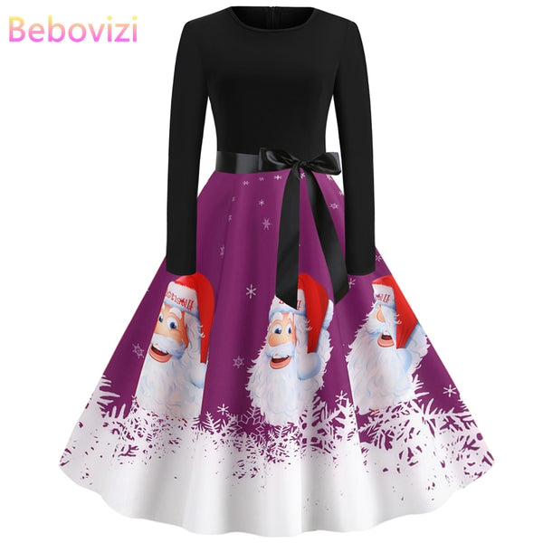Bebovizi Winter Dresses Women 2019 Plus Size Purple Christmas Party Dress Santa Claus Print Vintage Elegant Long Sleeve Vestidos