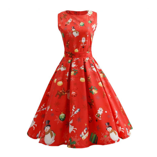 Women Girls Vintage Christmas Dress Santa Claus Print Retro Swing Dress New