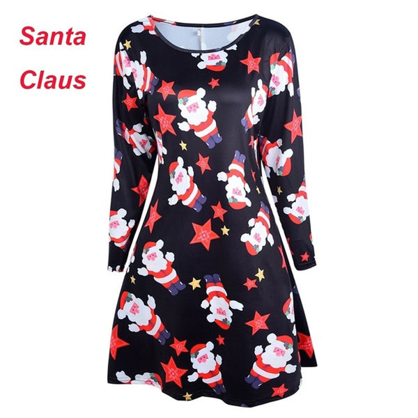 Autumn 2019 Large Size Women Christmas Dress Casual Long Sleeve Cute Santa Claus Snowman Dresses 5XL Plus Size Ladies Dresses