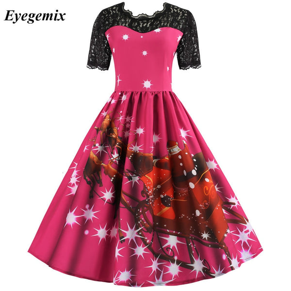 Print Plaid Lace Christmas Dress 2019 Women O-neck Short Sleeve Fit Flare Patchwork Slim Midi Elegant Party Pink Dress Vestidos