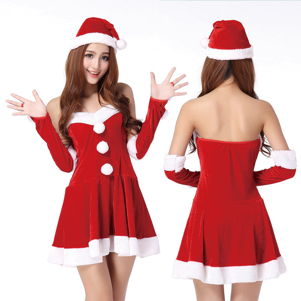 Lady Santa Claus Costume Women Christmas Party Two Parts Princess Dress Cosplay Suit Sexy Winter Dress Vestido De Festa Navidad