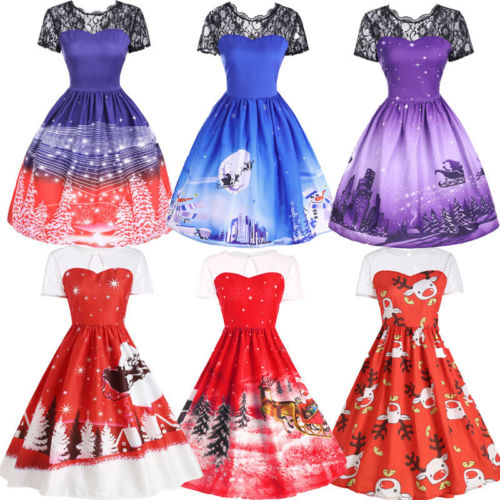 Women Swing Dress Santa Lace Claus Deer Christmas Ball Gown Print Vintage Party Dresses