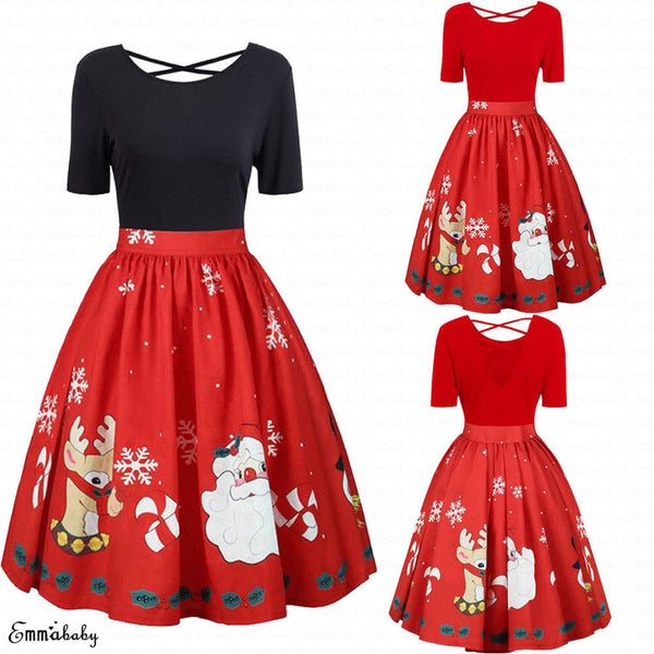 Hirigin Xmas 2018 Newest Womens Ladies Christmas Vintage Santa Claus Print Oversized Evening Party Dress Clubwear Plus Size