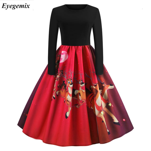 Plus Size Christmas Dresses Women Santa Claus Print Bodycon Party Dress Elegant 50S Vintage Swing A Line Black Midi Winter Dress