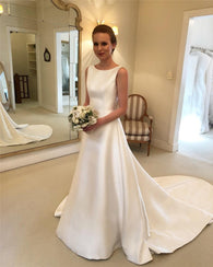 Elegant Boho A-line Wedding Dresses 2019 Luxury Satin Bridal Dress With Sexy Backless Bow Formal Country Vestido de noiva