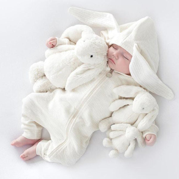 Toddler Baby Romper Hooded Long Sleeve 3D Rabbit Ear Girl Kids Baby Rompers Cotton Jumpsuit New Born Baby Clothes Casual Outfit