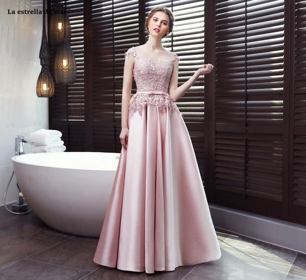 Elegant vestido de madrinha de casamento2019 new lace satin hat sleeves open A line pink bridesmaid dress long robe mariage