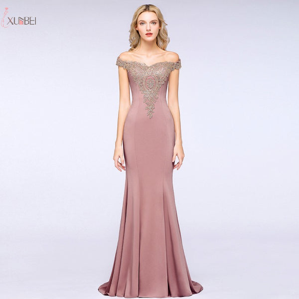 Pink Mermaid Long Bridesmaid Dresses 2019 Off The Shoulder Wedding Party Guest Gown Applique Rhinestone vestido madrinha