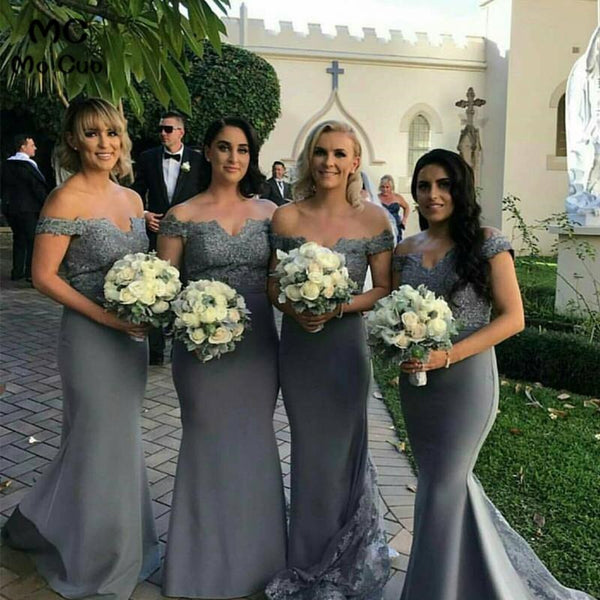 Custom Made Plus Size bridesmaids dresses elegant off the shoulder long mermaid lace dress for wedding party for woman