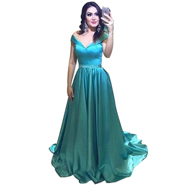 Lovely Deep V-Neck Sleeveless A-Line Floor Length Satin Pleated Crsystal Beaded Bridesmaid Gown Sexy Satin Bridesmaid Dresses