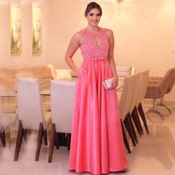 Vestido De Festa A Line Long Prom Gown Scoop Neck Beading Tops Tank Party Dress for Weddings Custom Made