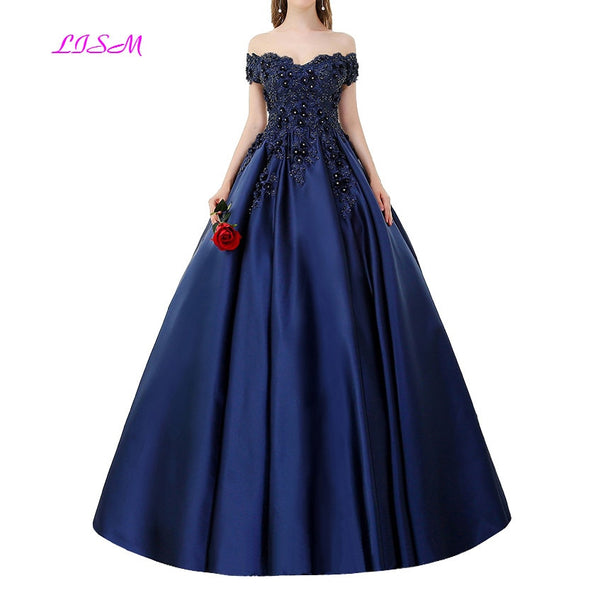 LISM Off Shoulders Ball Gown Quinceanera Dresses Lace Appliques Beaded Satin Prom Dress 2019 New Arrival Vintage Sweet 16 Gowns