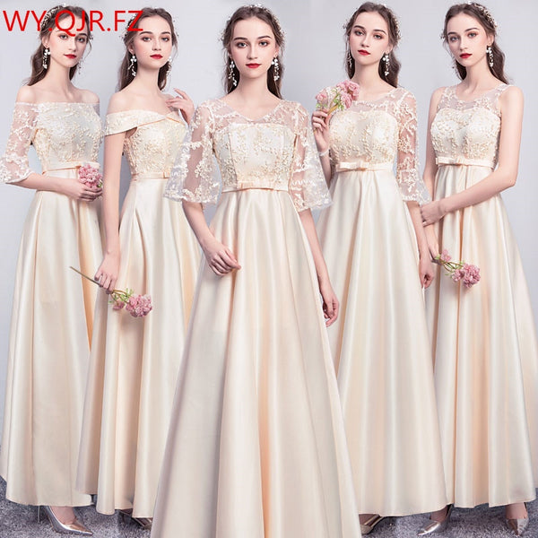 ASL#Champagne Lace up Gary pink twill satin Bridesmaid Dresses Graduation Christmas wedding party dress gown prom long wholesale
