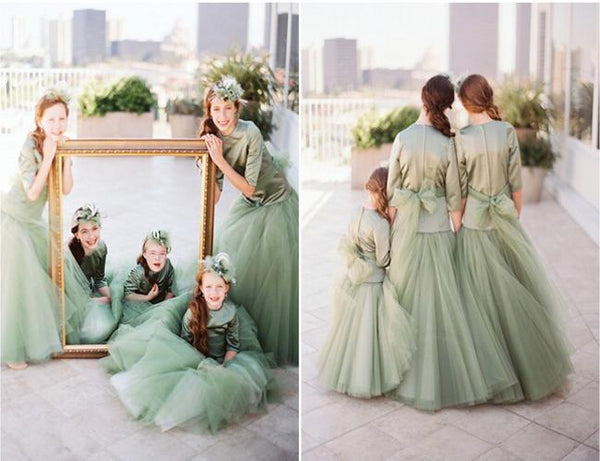 Amazing Lovely Green Three Quarter Sleeve Princss Flower Girl Dress Tulle Kids' Party Pageant Gown