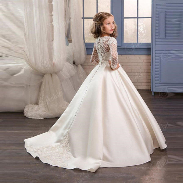 Elegant Long Sleeve Flower Girl Dresses Kids Formal Lace Satin Trailing Princess Party Holiday Birthday Gifts