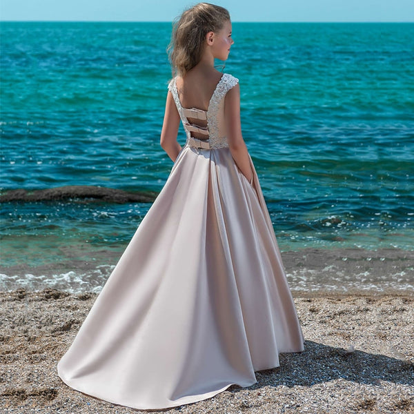 Backless Custom Made Vestido First Communion Gown Vintage Satin Dress For Elegant Princess Beading Lace Flower Girls Dresses