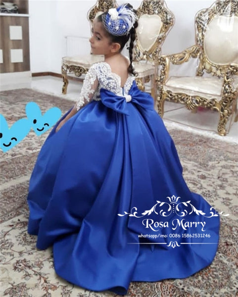 Luxury Ball Gown Girls Pageant Dresses For Weddings 2020 Vintage Lace Blue Knot Bow Plus Size Toddler Girls Birthday Prom Gowns