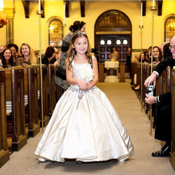 Gorgeous Ivory Little Flower Gril's dresses with Lace-up Back Beaded Birthday girls pageant gowns Flower Girl dresses