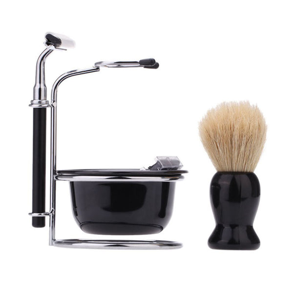 4 In 1 Men's Manual Razor Set Stainess Steel Stand Holder 5 Blades Wet Shaving Beard Razor Shaving Brush Bowl HB88