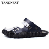 Tangnest 2017 New Man Beach Sandals Summer Fashion Mixed Color Slip On Massage Man Cool Soft Leisure Flats Male Slippers XML212