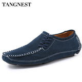 Tangnest New Fashion Men Genuine Leather Shoes 2017 Classic Casual Men Loafers Solid Lace Up Man Flats Shoes Size 38-47 XMR2085