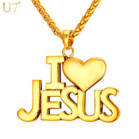 U7 Jesus Heart Necklace For Men/Women Gift Gold Color Stainless Steel Christian Jewelry